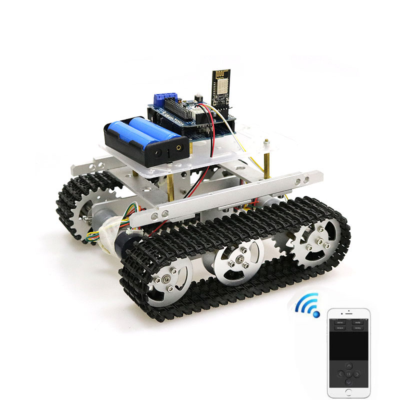T100 Handle/Bluetooth/WiFi RC Control Robot Tank Chassis Car Kit for Arduino with UNO R3, 4 Road Motor Driver Board, WiFi Module doit new arrival metal robot 4wd car chassis c101 with four tt motor wheel for arduino uno r3 diy maker eduational teaching kit