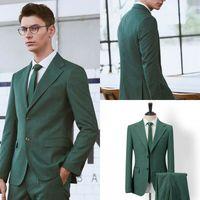 Зеленый мужской костюм пиджак свадебный смокинг Бизнес жених 36 W 56 W обычный на заказ