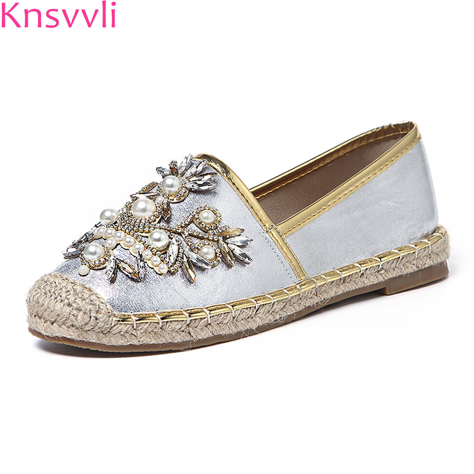 Knsvvli crystal flower leaf weave fisherman shoes women pearl silver flat shoes ladies round toe slip on black lazy shoes