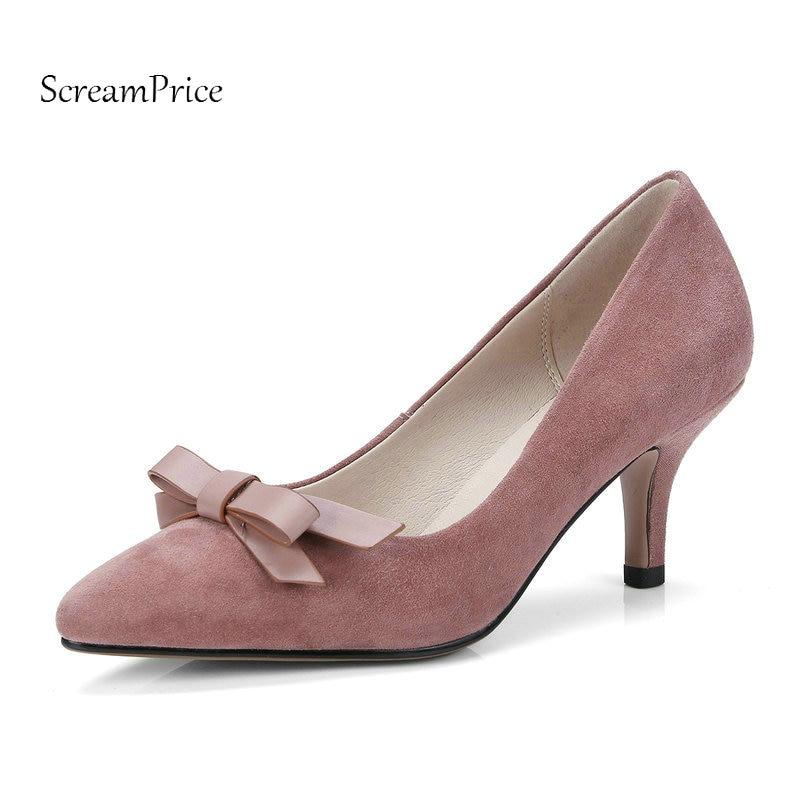 Comfort Thin Heel Pointed Toe Woman Suede Pumps Fashion Bow Knot Dress Lazy High Heel Shoes Woman Black Pink Gray недорго, оригинальная цена