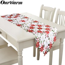 OurWarm 38X176cm Embroidery Table Runner Placemat European Style Tablecloth Christmas Flowers Decorations for Home New Year 2019