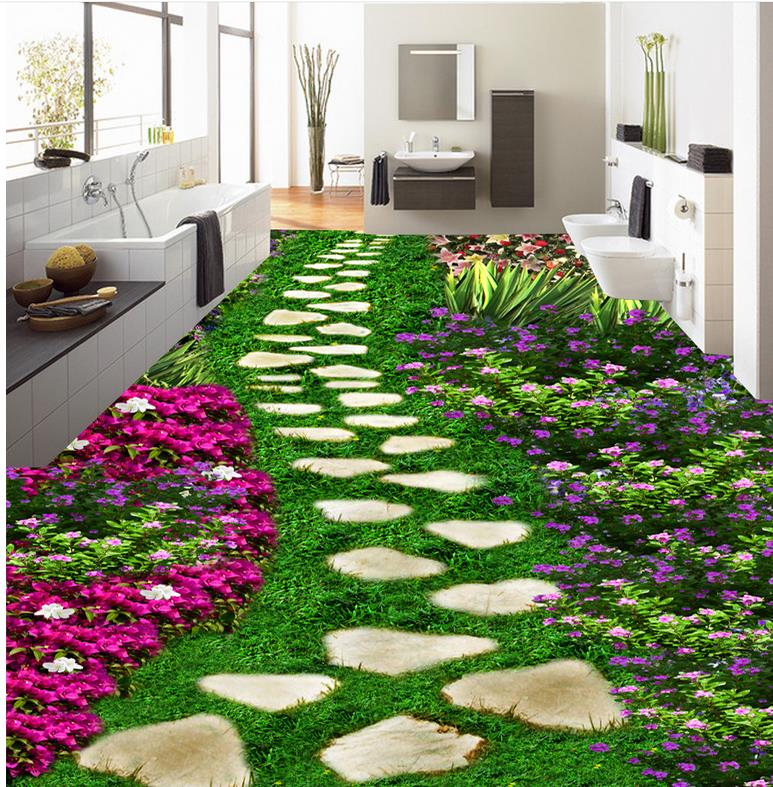 Custom Photo Floor 3D Wallpaper Modern Art Park purple flowers self-adhesive PVC Wallpaper