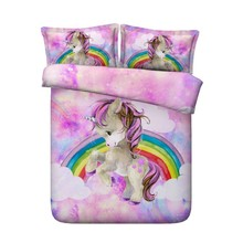 Pink Rainbow Unicorn Bedding set Luxury bed sheet sheets Queen size Cal King full twin kids quilt duvet cover bed in a bag 4PCS