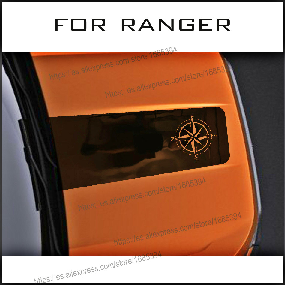 car decals 2pc Rose Compass cool hood bonnet graphic Vinyl scratch sticker custom for FORD RANGER everest in Car Stickers from Automobiles Motorcycles