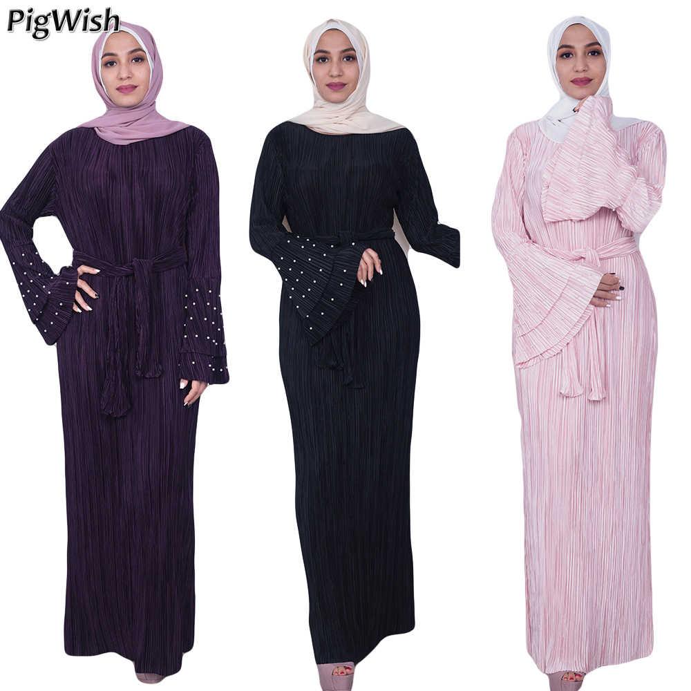 3470ee9fc3c4e10 2018 мусульманское платье-Абая жемчуг Flare рукавом Плиссированные Moroccan Кафтан  Исламская одеяние мусульмане Eid арабское