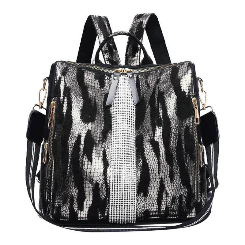 Fashion Animal Print Travel Backpacks Women Oxford Cloth School Bags Preppy Style Knapsack Casual Mesh Rucksack