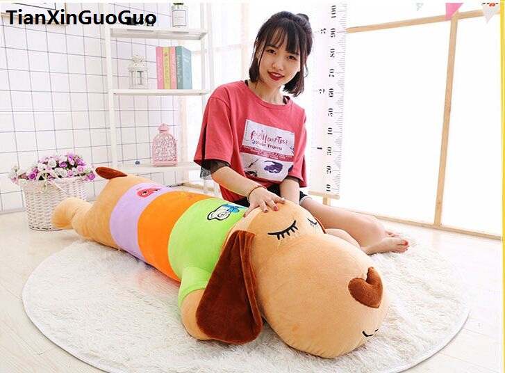 Фотография stuffed toy huge 140cm cartoon prone long dog plush toy colourful dog soft sleeping pillow Valentine