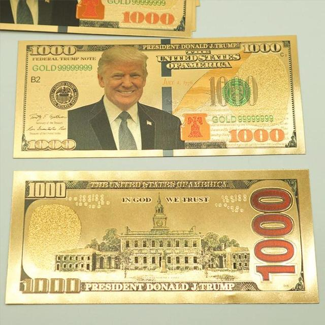 Donald Trump Dollars Banknotes Usa President Paper Money Collection 1000 Gold Foil Bill Currency