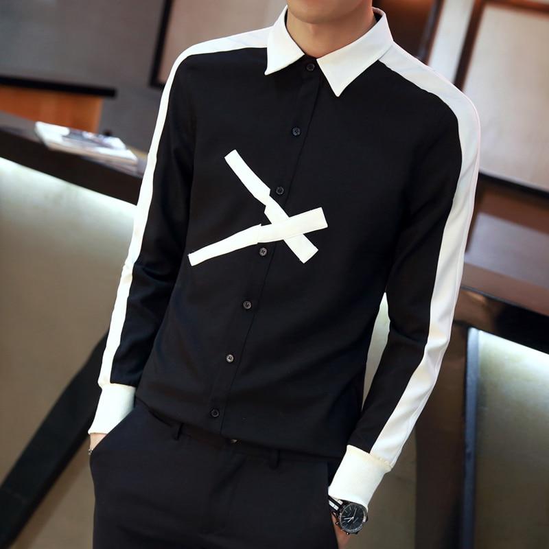 7555aacd2a7 Fashion Designer Men Shirt 2018 Autumn Slim Fit Long Sleeve Social Shirts  Dress Patchwork Color Scissor Pattern Casual Shirt Men-in Casual Shirts  from Men s ...