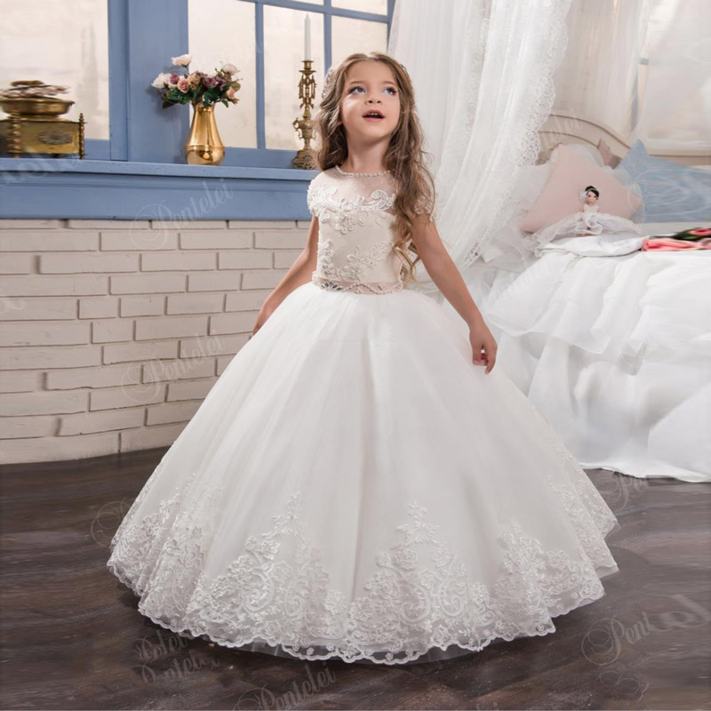 2017 New Arrival Luxury Ball Gown Lace Appliques Holy Little Girls Pageant Dresses For Wedding Ankle Length Custom Made