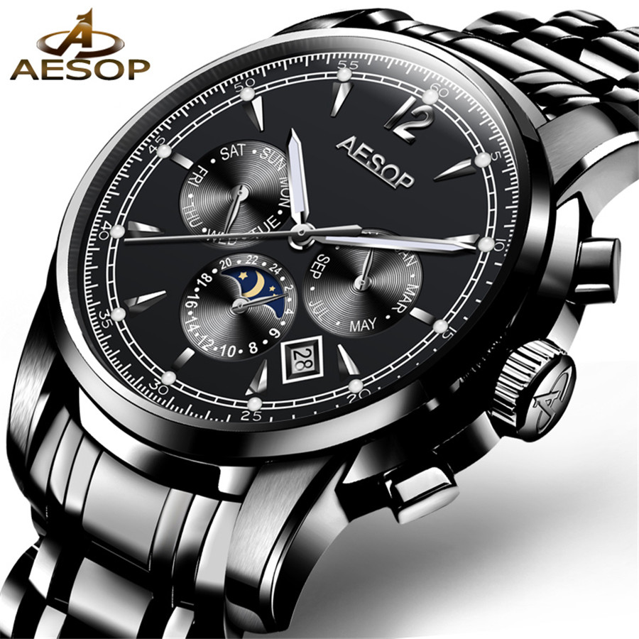 AESOP Automatic Mechanical Watch Men Luxury Top Brand Mens Watches Sapphire Wristwatches Waterproof relogio masculino 2018 stainless steel sapphire relogio mens watches top brand luxury waterproof 2017 switzerland automatic mechanical men watch b5005