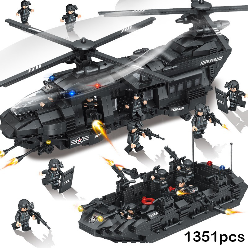 1351pcs Police SWAT Helicopter Ship Model Building Blocks Military Figures Compatible Legoed Army City Bricks Child Toys Gifts цена