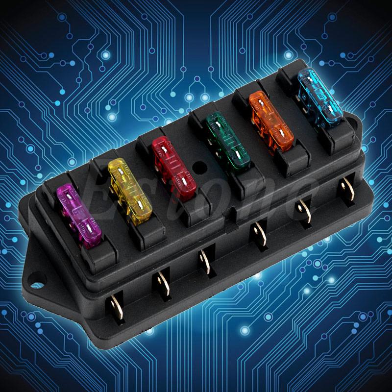 New 12v  24v Car 6 Way Circuit Standard Ato Blade Fuse Box Block Holder   6 Fuses