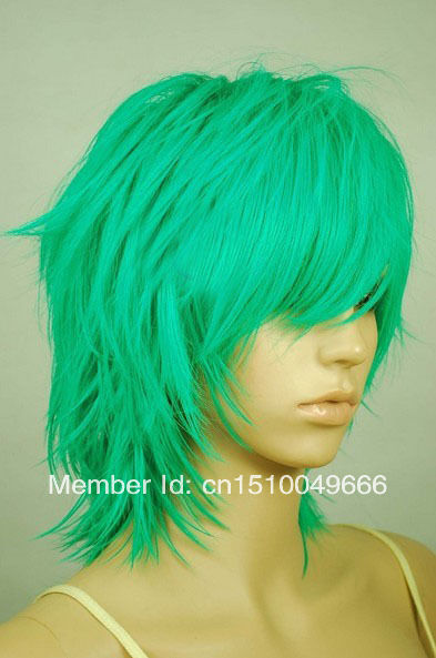 Clever Free Ship>>>green Shaggy Cut Short Cosplay Wig - 16 Inch High Temp - Cosplaydna Wigs Bright In Colour