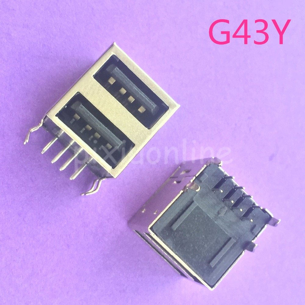 2pcs G43Y USB A Type Female Socket Connector 2to1 Set for Data Connection Interface Charging