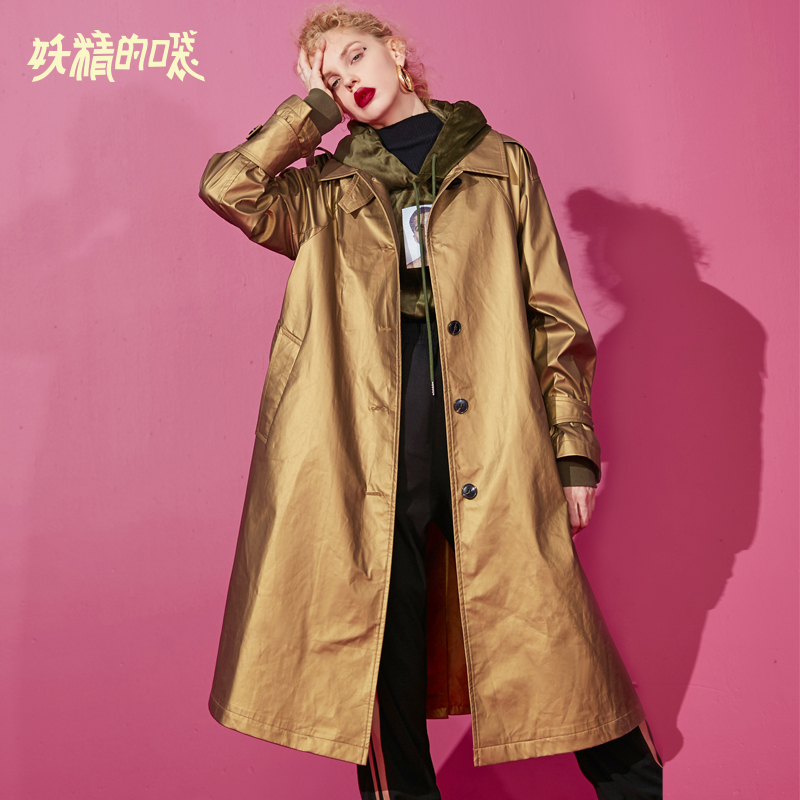 ELF SACK New Korean Style Woman   Trench   Coat Pu Leather Long Sleeve Loose Femme Coats Turn-down Collar Golden Femme Coats