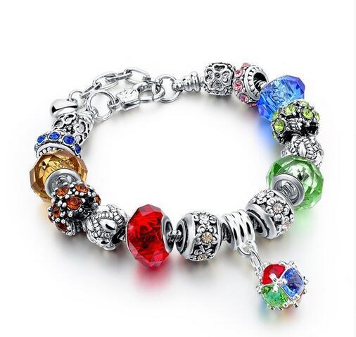 Szelam 2017 New Crystal Beads Bracelets Bangles Silver Plated Charm Bracelets For Women Friendship Pulseras SBR160014 5