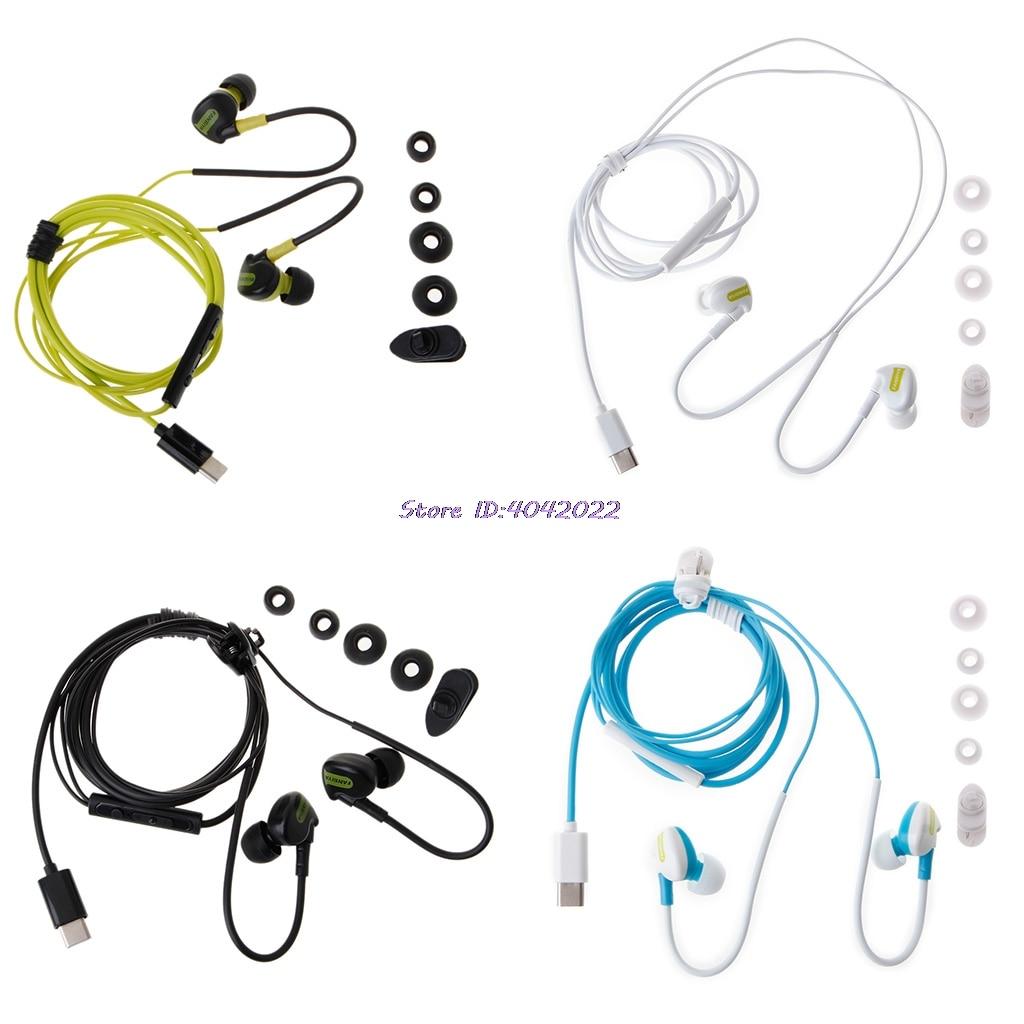 In-Ear Type C Earphone Bass Ear Hook Headset With Mic For Huawei P9 for Xiaomi Mi5/6(China)