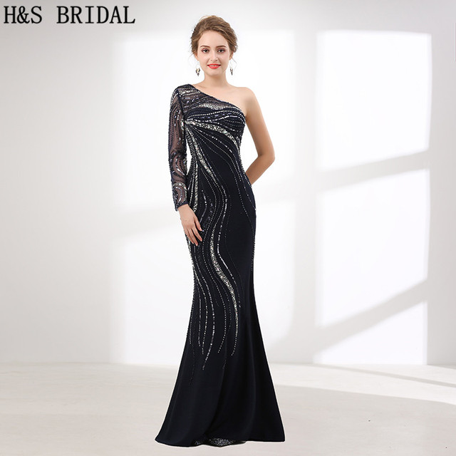 H&S BRIDAL One Shoulder Prom Dresses Sequin Beads Mermaid Evening ...