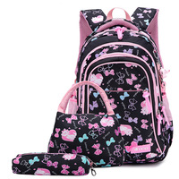 Princess Bow Printing SchoolBags Children Backpacks For Teenagers Girls Primary School Bags Child Orthopedics 3pcs Set Backpack