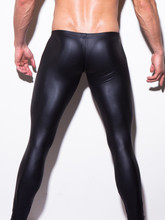 Sexy Men Low-rise U Bulge Pouch Night Club Stage Performance Tights Bodywear Pants Men's Shiny Faux Leather Leggings Gay Wear