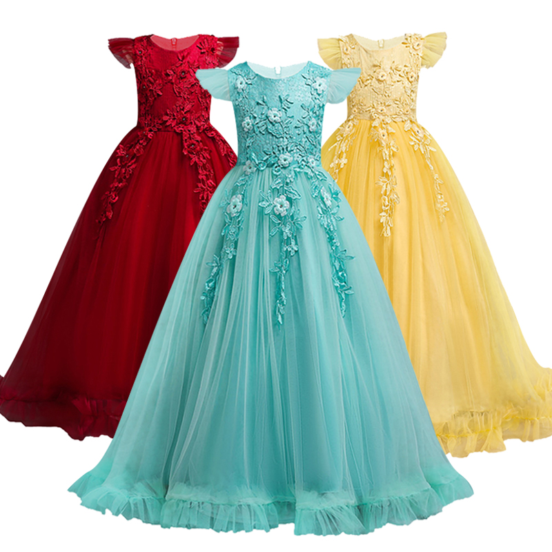 4-14 Yrs Lace Teenagers Kids Girls Wedding Long Girl Dress elegant Princess Party Pageant Formal Dress Baby Childrens dress4-14 Yrs Lace Teenagers Kids Girls Wedding Long Girl Dress elegant Princess Party Pageant Formal Dress Baby Childrens dress