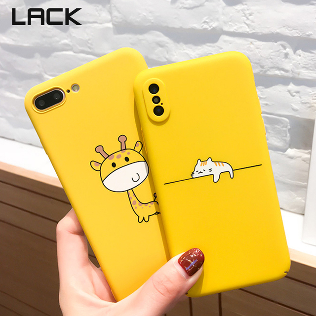 LACK Cute Cartoon Lazy Cats Phone Case For iphone 7 6 6S 8 Plus Case For iphone X Funny Animal Yellow Back Cover Pineapple Capa