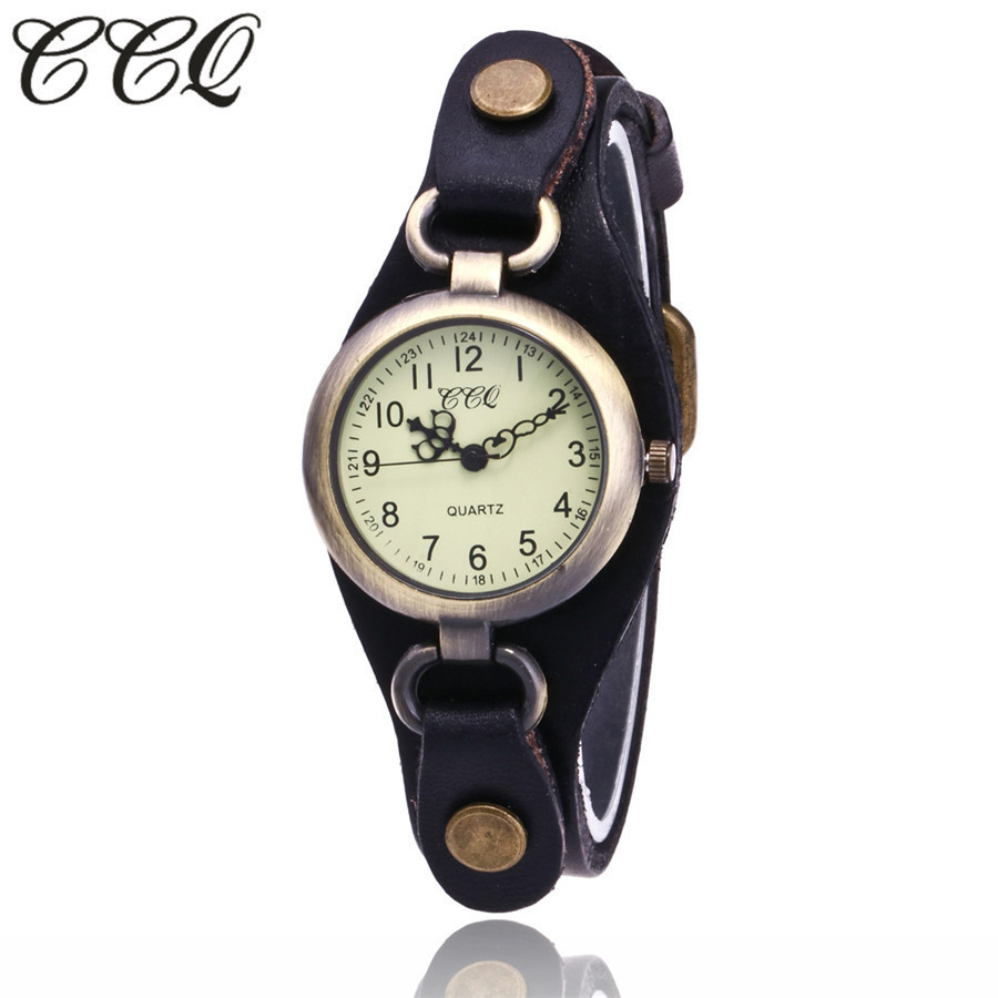 CCQ Brand Fashion Vintage Cow Leather Quartz Watches Casual Women Bronze Dial Casual Dress Wristwatch Clock Relogio Feminino