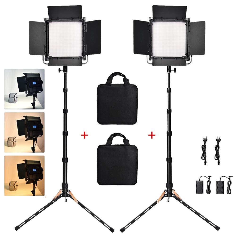 Fusitu 2 define Fotográfica Luz Regulável Bi-color 3200 k-5600 k LED Luz de Vídeo Com Tripés Para transmissão ao vivo Câmera Photo Studio