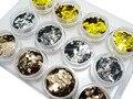 12 Brillo Del Arte Del Clavo de LA MARIPOSA Formas Confetti Sequins Extremidades De Acrílico UV Gel