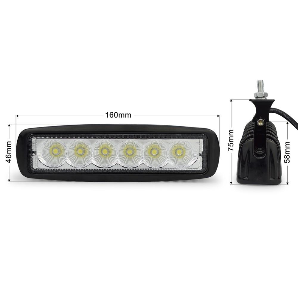 2 pcs 6 Inch 18 W LED Kerja Ringan untuk Indikator Motor Mengemudi - Lampu mobil - Foto 3