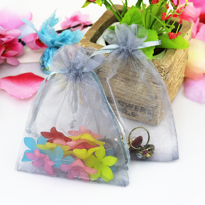 15x20cm 5 9 X7 87 Grey Organza Bags Gifts Drawstring Jewelry Pouches For Wedding Bolsas Regalo 100pcs Lot In Packaging