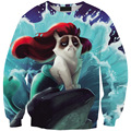 Ariel la sirenita grumpy cat imprimir sudor de las mujeres y hombre divertido de la historieta 3d animal sudadera con capucha top dropshipping