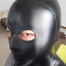 Черная искусственная кожа ткань стерео клиппинг толстовка с капюшоном «zentai» с открытыми глазами