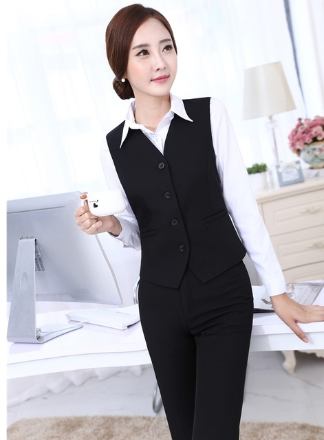 New Slim Fashion Formal Uniform Styles Novelty Black Female Pantsuits Vest And Pants 2015 Spring Autumn Business Ladies Blazers