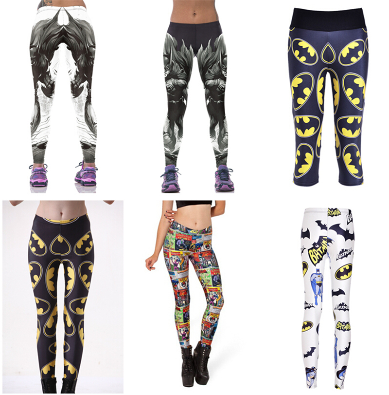 Women BATMAN Pants Fitness BAT MAN Sport Legging Europe Bat Hero Trousers Female Workout Elastic Capris Bodybuilding LNLgs
