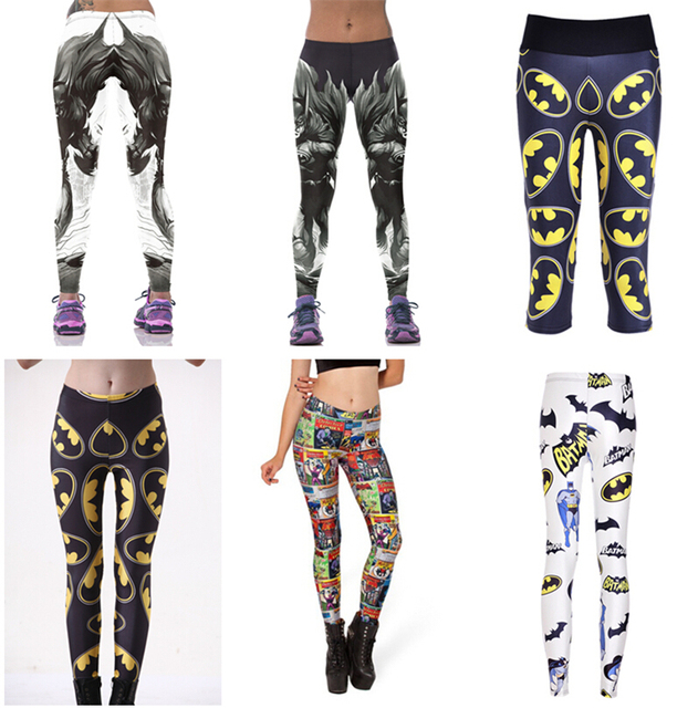 9c8cb8b42dff7f Women BATMAN Pants Fitness BAT MAN Sport Legging Europe Bat Hero Trousers  Female Workout Elastic Capris Bodybuilding LNLgs