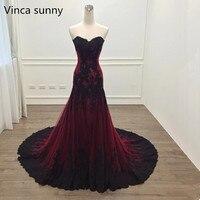 Vinca Sunny Elegant Sweetheart Lace Long Prom Dresses 2018 Burgundy Sleeveless Floor Length Formal Evening Party