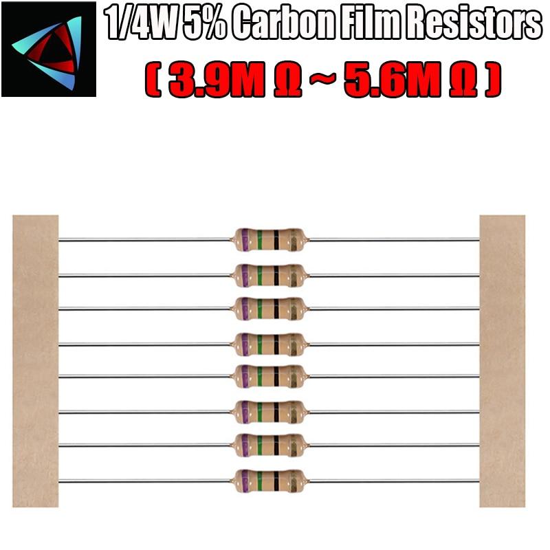 100pcs 1/4W 5% Carbon Film Resistor 3.9M 4.3M 4.7M 5.1M 5.6M Ohm