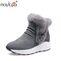 MAYLOSA Ankle Boots Flat Boots 100 Real Genuine Leather Shoes Retro Winter Snow Boots Botines Mujer