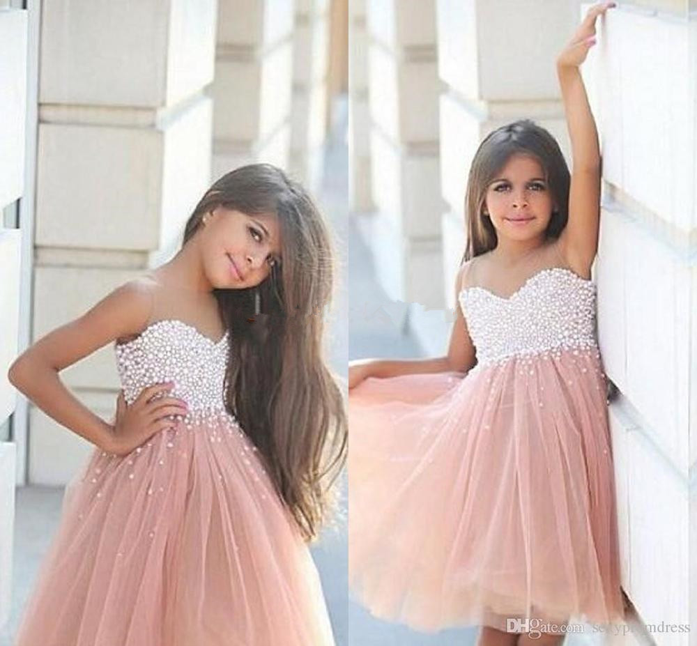 Pearls Knee Length   Flower     Girl     Dresses   for Weddings 2016 Lovely A line   Girl   Formal Gown Gorgeous Pageant   Dresses