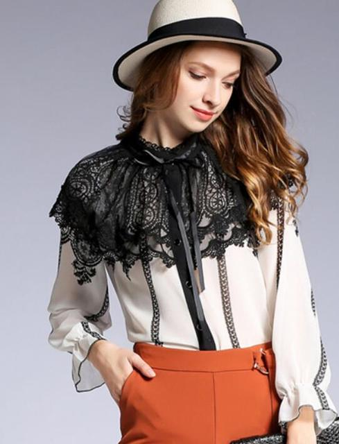 Free Shipping Retro Korean Stand Collar Bowknot Lace Color Block Flare Sleeve Long Sleeve Woman Top top