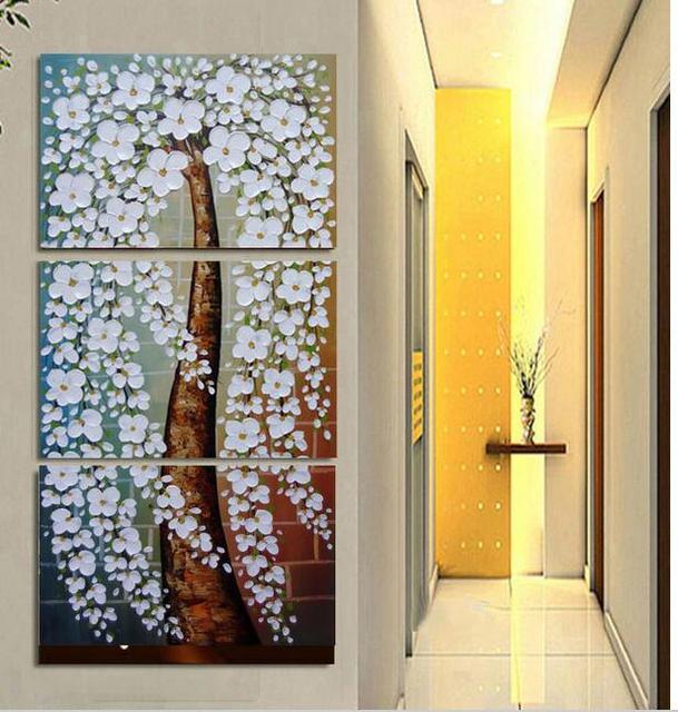 Hot sell!!!Textured Palette Knife Tree white Flower Oil Painting ...