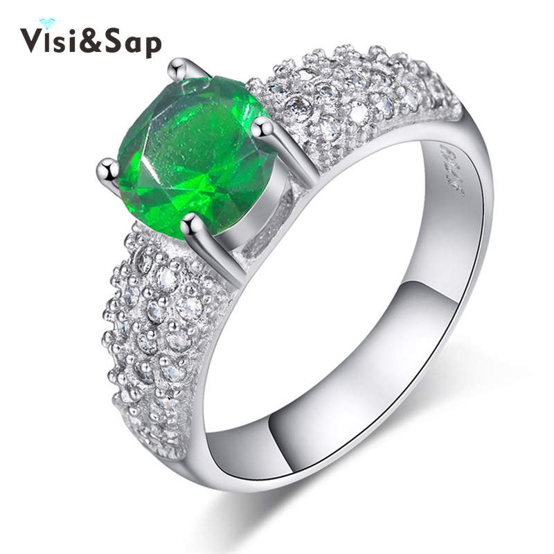 Visisap 4 Color Birth Stone Colour Wedding rings For Women AAA cubic zirconia størrelse 5-10 Engasjements smykker Drop Shipping VSR024