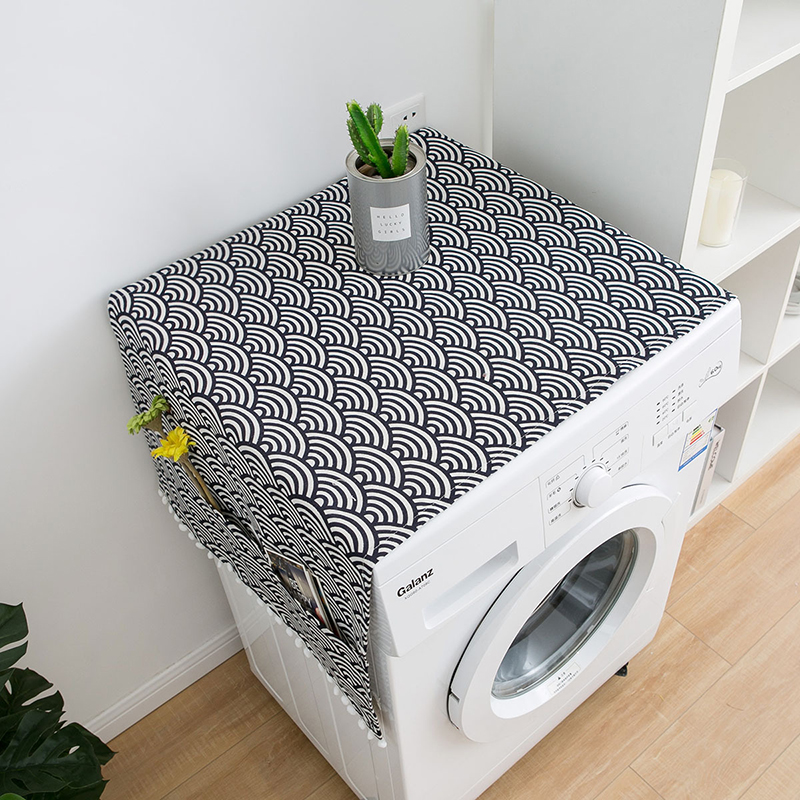 Simanfei Washing machine Cover Rural Japan style Dust proof Covers Fish scale wave printing Refrigerator Dust Cover Storage Bags in Washing Machine Covers from Home Garden