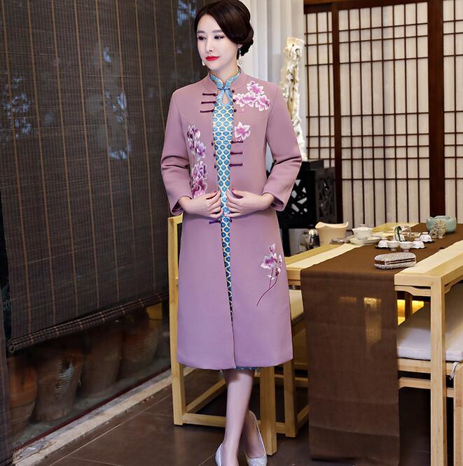 Новое поступление осень зима Китайская традиционная Женская 2 шт Qipao шерсть чеонгсам Новинка китайское торжественное платье Размер M L XL XXL - Цвет: 1897