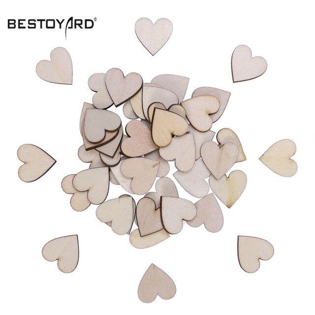 50 piezas en forma de corazón rebanadas de madera árbol de abedul ...