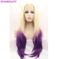 JOY&BEAUTY Natural Wave Hair Wig Heat Resistant Fiber Hair Blonde To Purple Two Tones Ombre Synthetic Lace Front Wigs 26inch