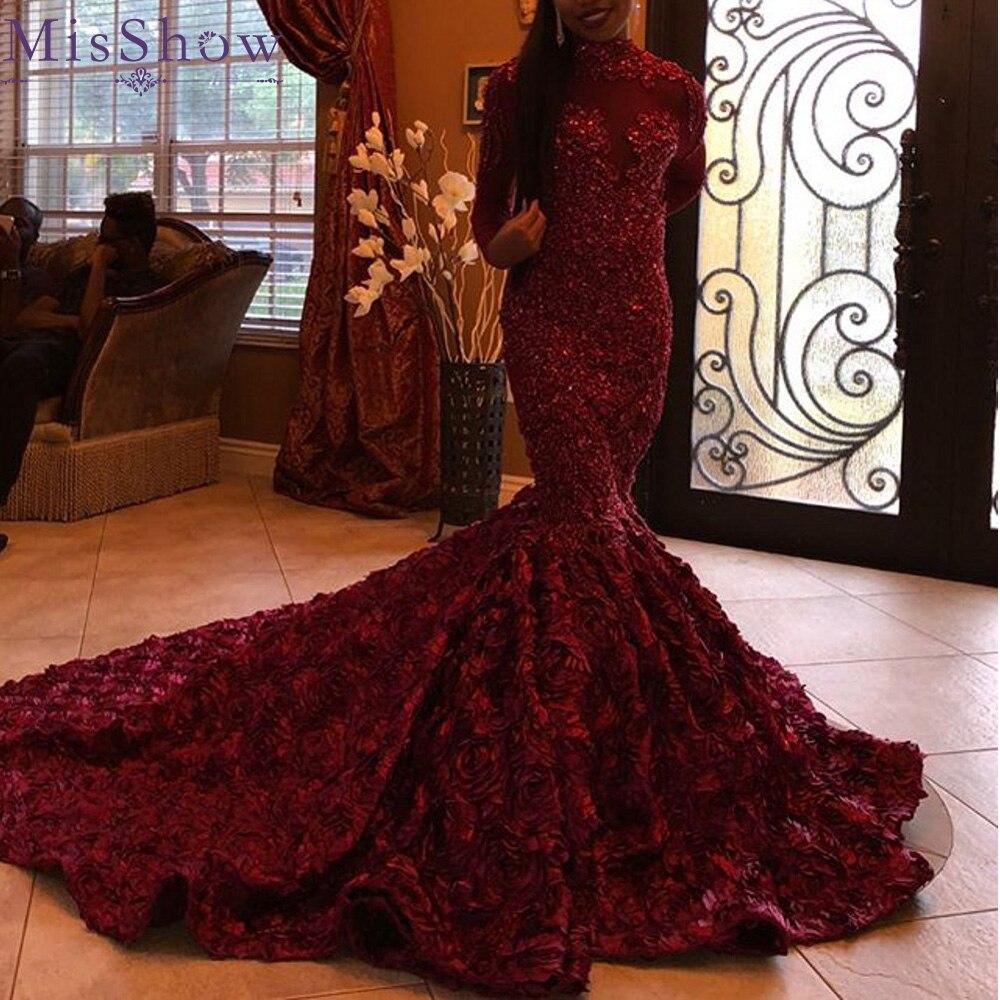 2019 Burgundy Mermaid   Evening     Dresses   Long Satin Women Appliques Formal Party Gown Prom   Dress   3D Floral Train Robe de Soiree
