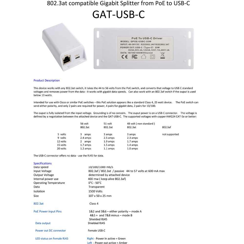 Gigabit POE splitter Convert 802 3at PoE+ to USBC for Nest IQ Macbook  Google Wifi Extend power for USB Type C device up to 100M